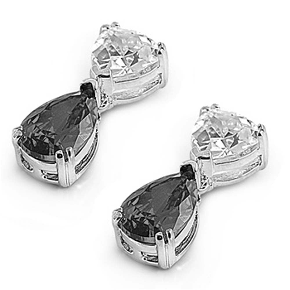 Sterling Silver Black Pear And Trillion Shaped CZ EarringsAnd Face Height 18 mm