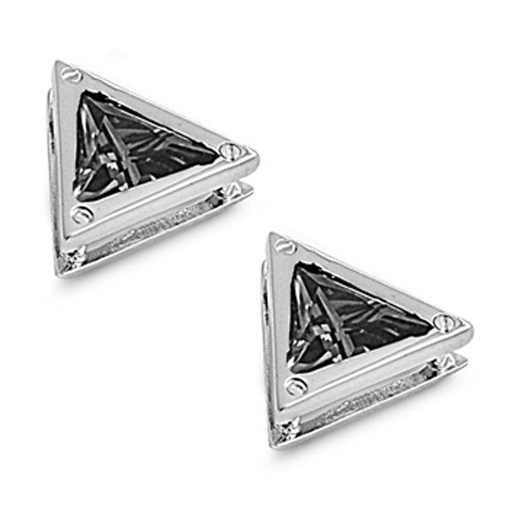 Sterling Silver Black Triangle Shaped CZ EarringsAnd Face Height 9 mm