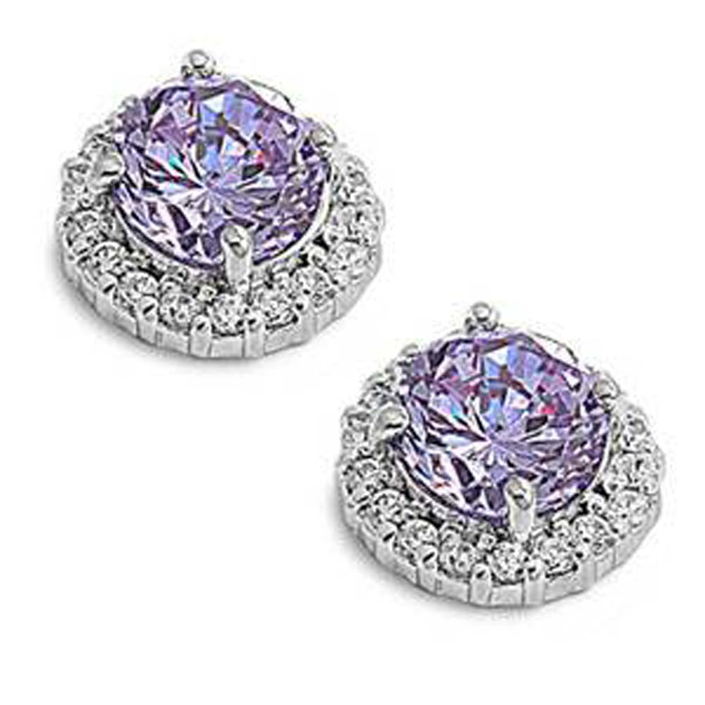 Sterling Silver Lavender Round Shaped CZ EarringsAnd Face Height 11 mm