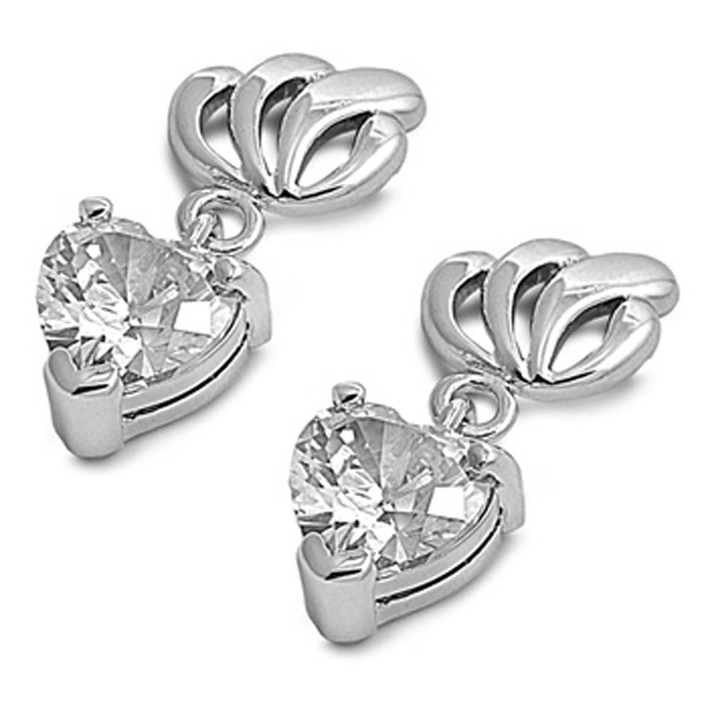 Sterling Silver Clear Heart Shaped CZ EarringsAnd Face Height 17 mm