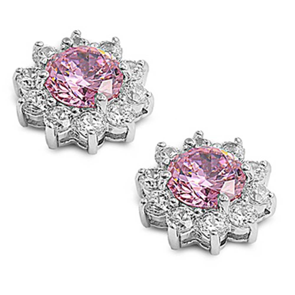 Sterling Silver Pink Flower Shaped CZ EarringsAnd Face Height 14 mm