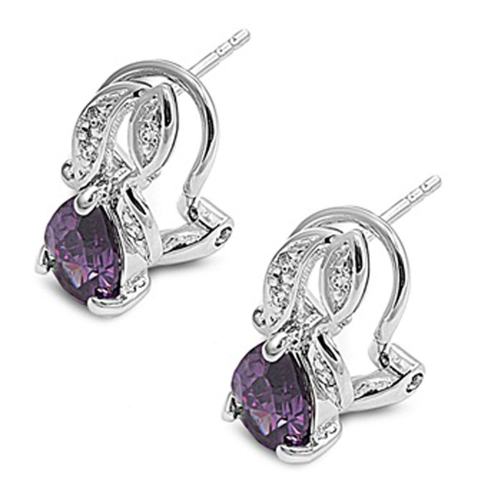 Sterling Silver Amethyst CZ and Clear CZ Earring With CZ Stones