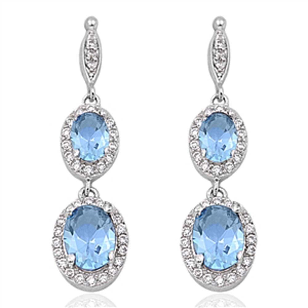 Sterling Silver Aquamarine Double Oval Drop Dangle Shaped CZ EarringsAnd Face Height 35 mm