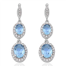 Load image into Gallery viewer, Sterling Silver Aquamarine Double Oval Drop Dangle Shaped CZ EarringsAnd Face Height 35 mm