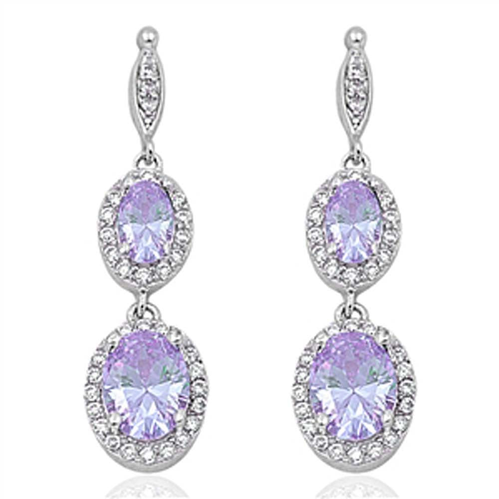 Sterling Silver Lavender Double Oval Drop Dangle Shaped CZ EarringsAnd Face Height 35 mm