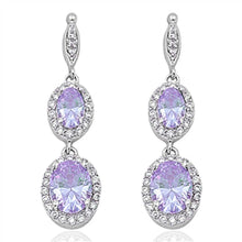 Load image into Gallery viewer, Sterling Silver Lavender Double Oval Drop Dangle Shaped CZ EarringsAnd Face Height 35 mm