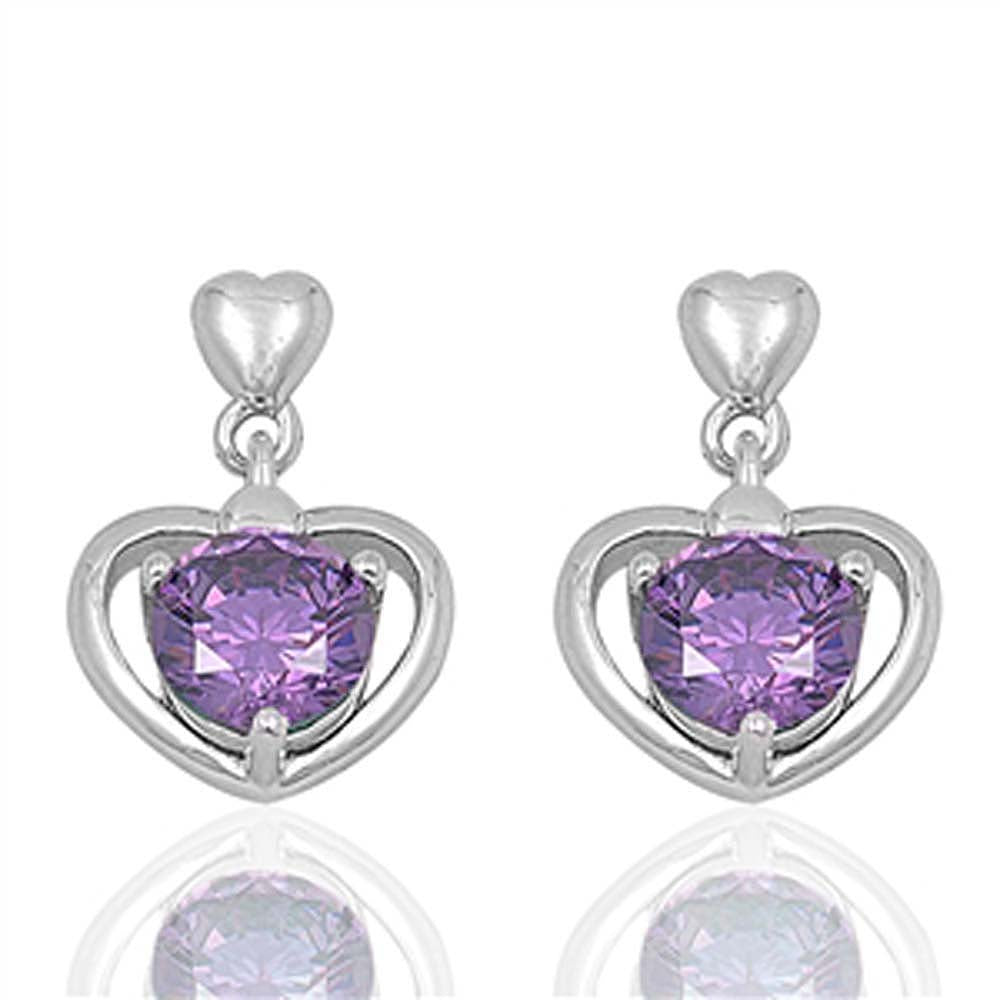 Sterling Silver Heart And Amethyst Round Shaped CZ EarringsAnd Face Height 17 mm