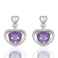Load image into Gallery viewer, Sterling Silver Heart And Amethyst Round Shaped CZ EarringsAnd Face Height 17 mm