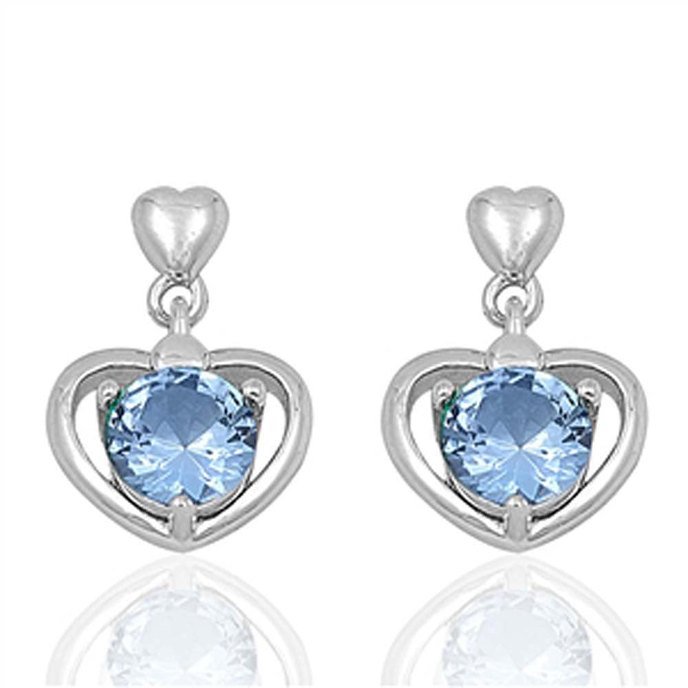 Sterling Silver Heart And Aquamarine Round Shaped CZ EarringsAnd Face Height 17 mm