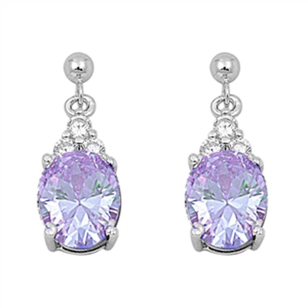 Sterling Silver Lavender Drop Oval Shaped CZ EarringsAnd Face Height 21 mm