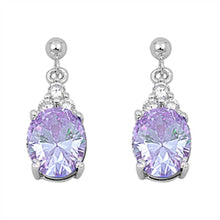 Load image into Gallery viewer, Sterling Silver Lavender Drop Oval Shaped CZ EarringsAnd Face Height 21 mm