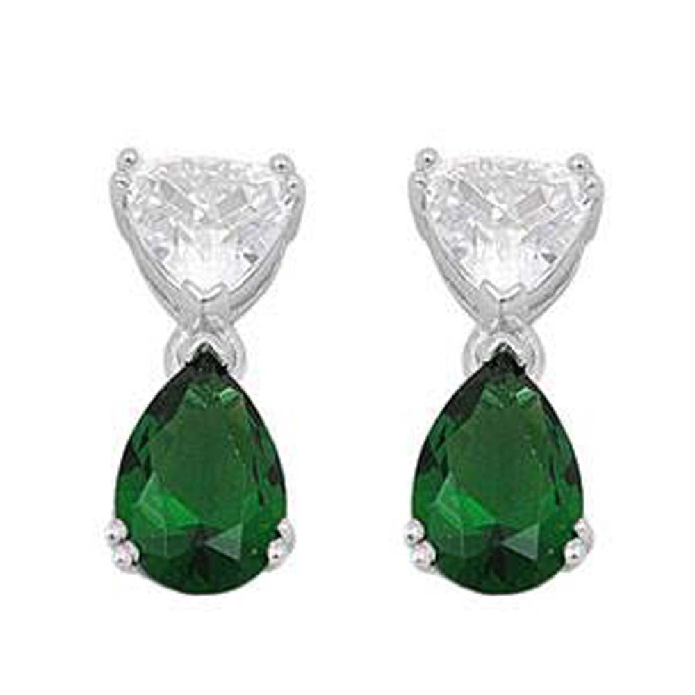 Sterling Silver Emerald Pear And Trillion Shaped CZ EarringsAnd Face Height 18 mm
