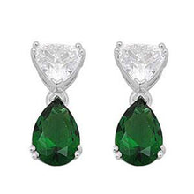 Load image into Gallery viewer, Sterling Silver Emerald Pear And Trillion Shaped CZ EarringsAnd Face Height 18 mm