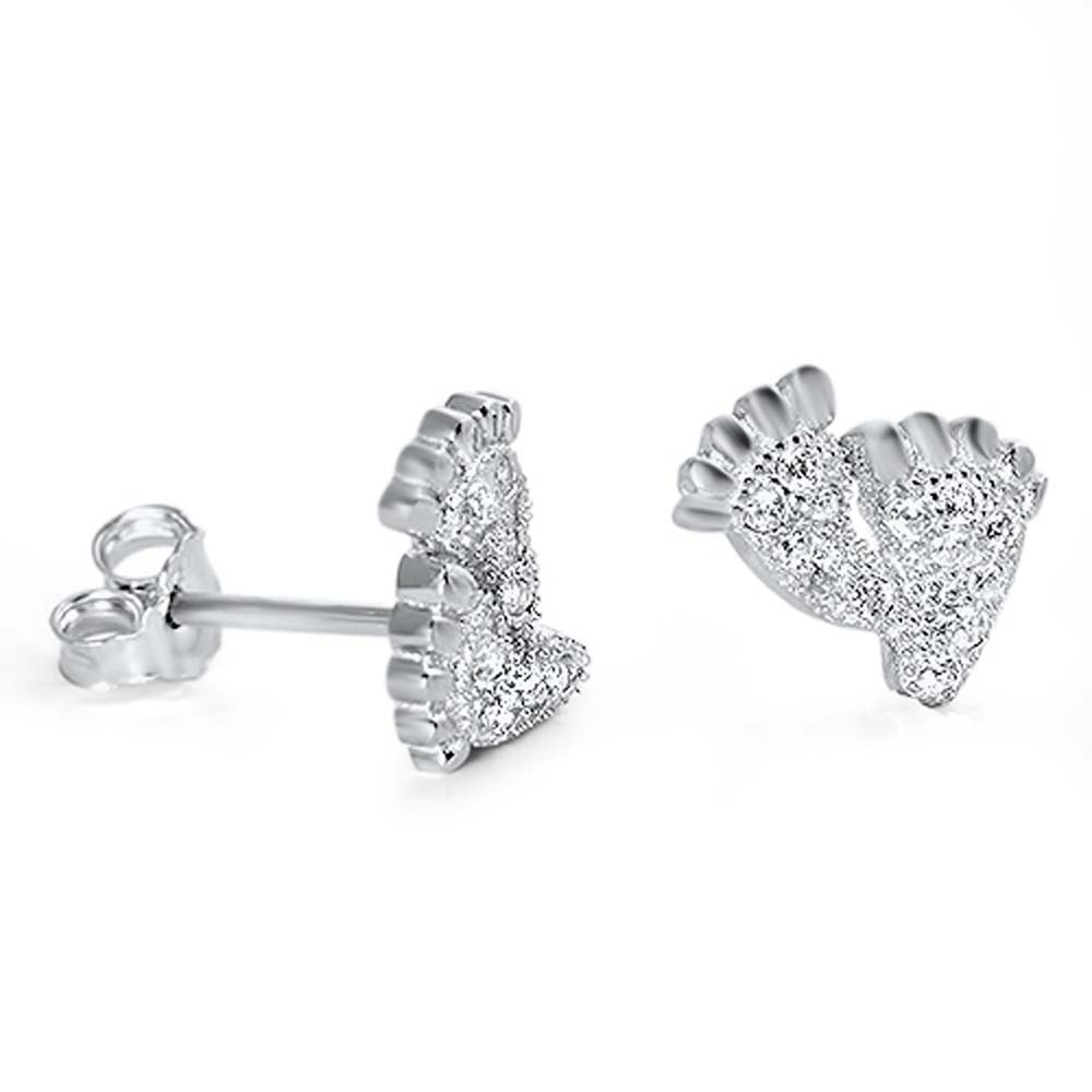 Sterling Silver Foot Shaped CZ EarringsAnd Face Height 8 mm