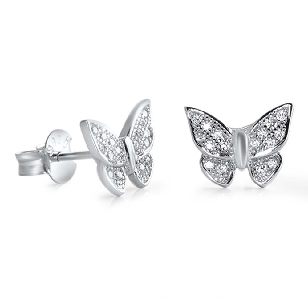 Sterling Silver Butterfly Shaped CZ EarringsAnd Face Height 8 mm