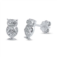 Load image into Gallery viewer, Sterling Silver Owl  Shaped CZ EarringsAnd Face Height 8 mm
