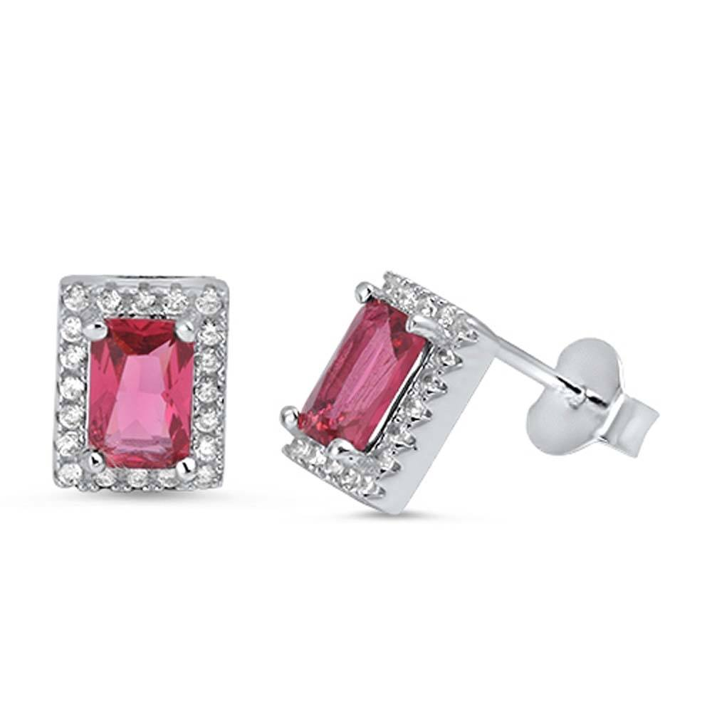 Sterling Silver Ruby Rectangle Shaped CZ EarringsAnd Face Height 8 mm