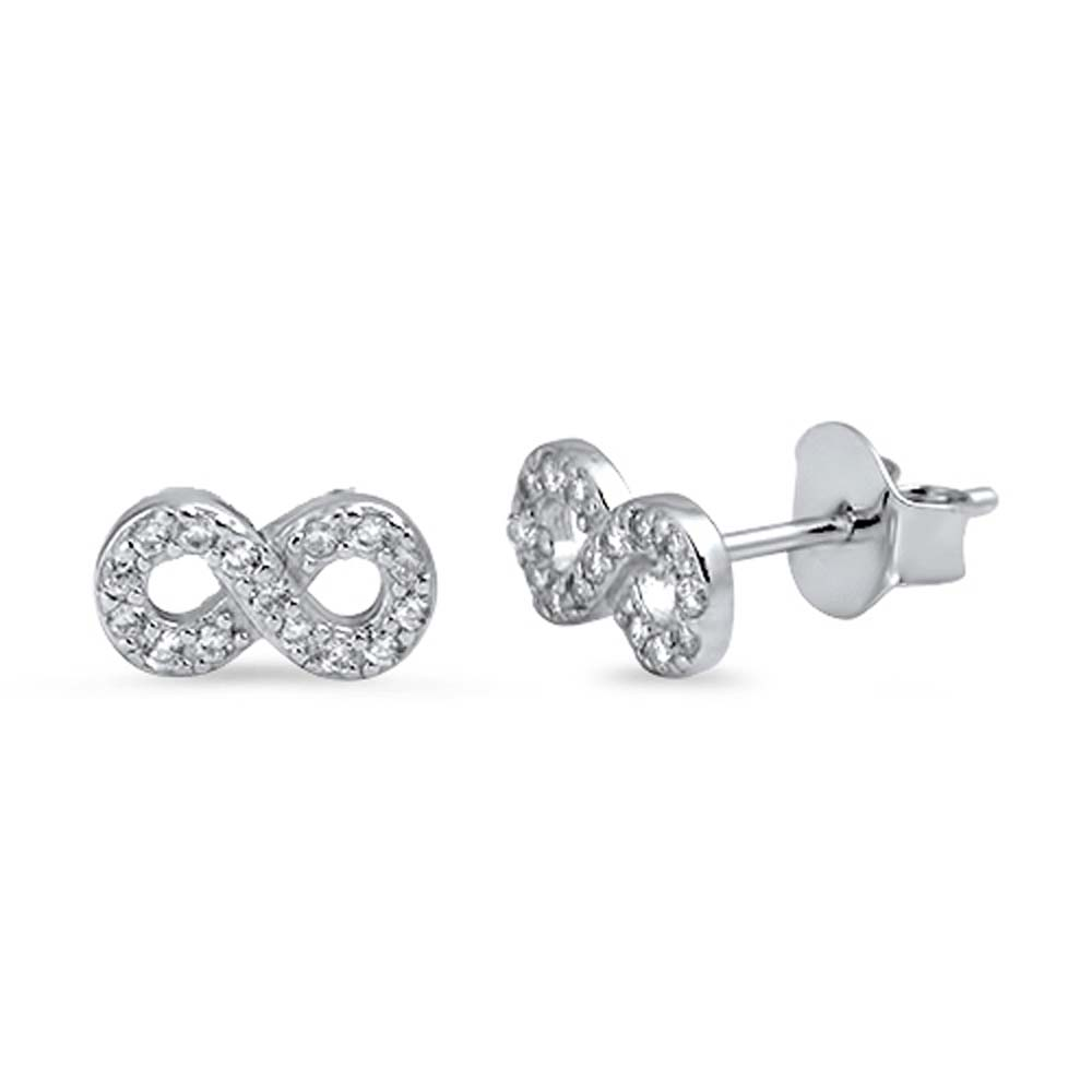 Sterling Silver Infinity Shaped CZ EarringsAnd Face Height 4 mm