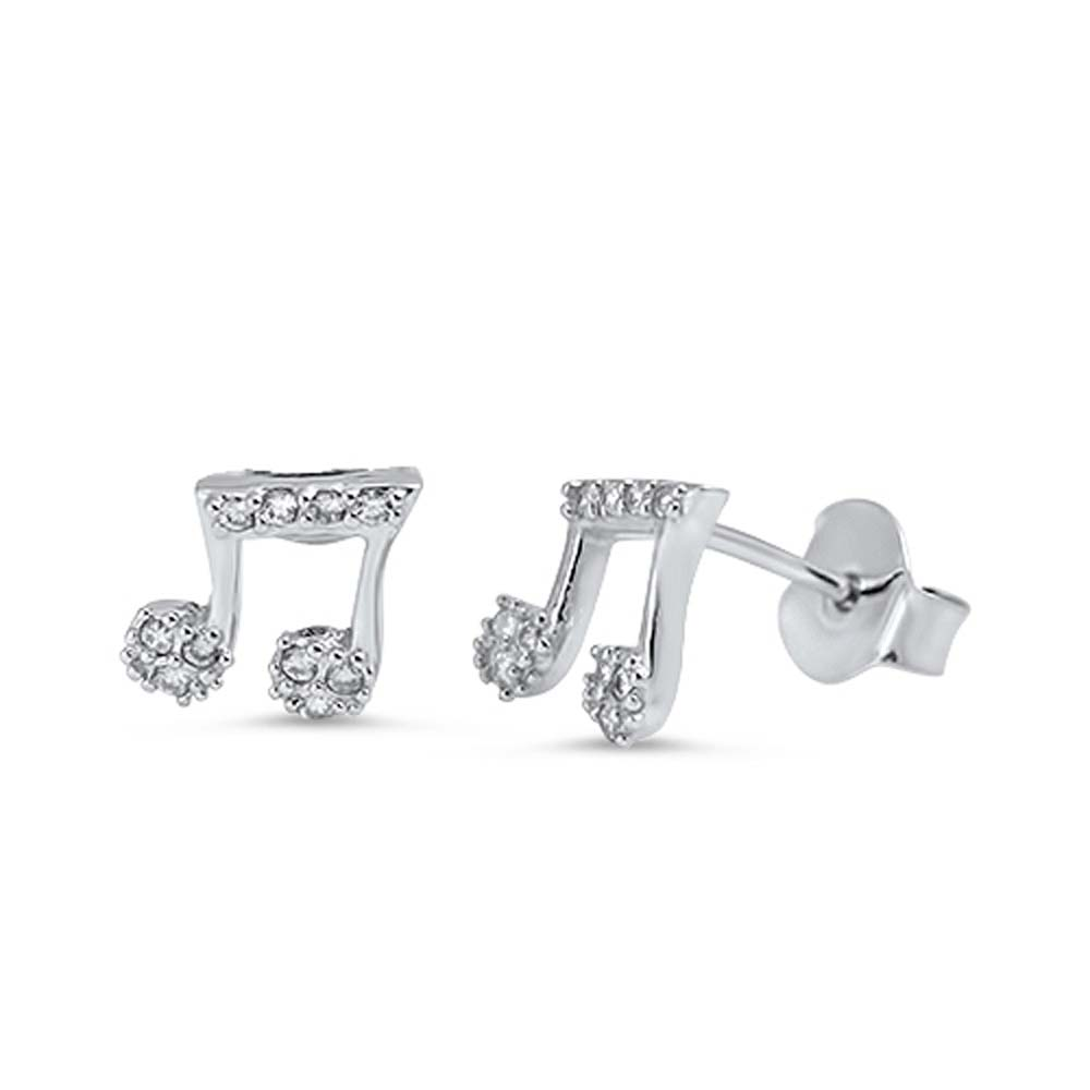 Sterling Silver Music Note Shaped CZ EarringsAnd Face Height 7 mm