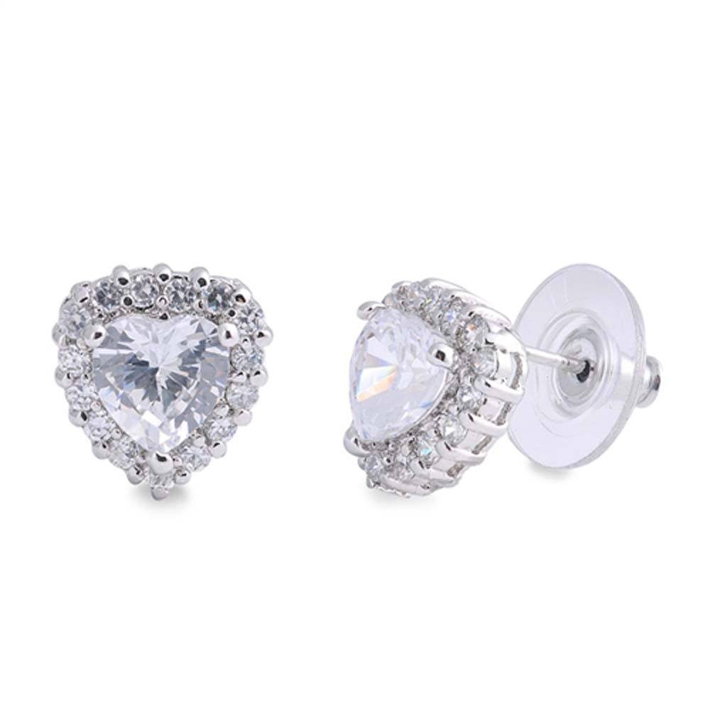 Sterling Silver Heart Shaped CZ EarringsAnd Face Height 11 mm