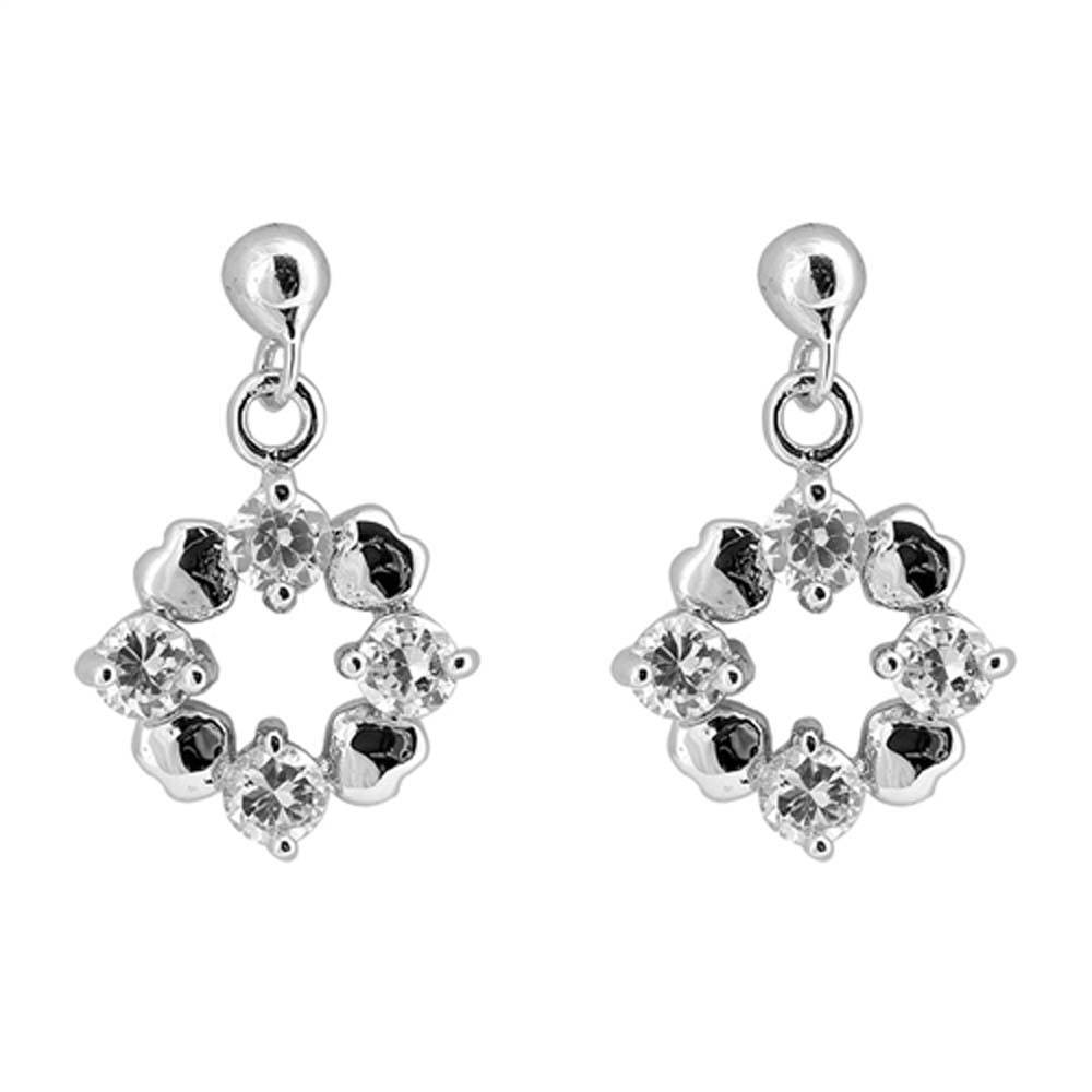 Sterling Silver Heart And Round Flower Shaped CZ EarringsAnd Face Height 12 mm
