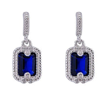 Load image into Gallery viewer, Sterling Silver Blue Sapphire And Clear Cylinder Shaped CZ EarringsAnd Face Height 12 mm