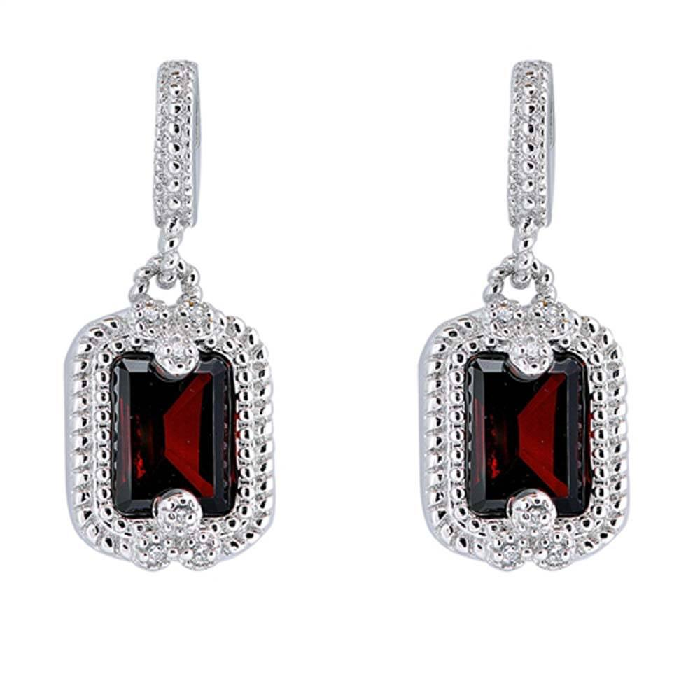 Sterling Silver Garnet And Clear Cylinder Shaped CZ EarringsAnd Face Height 12 mm