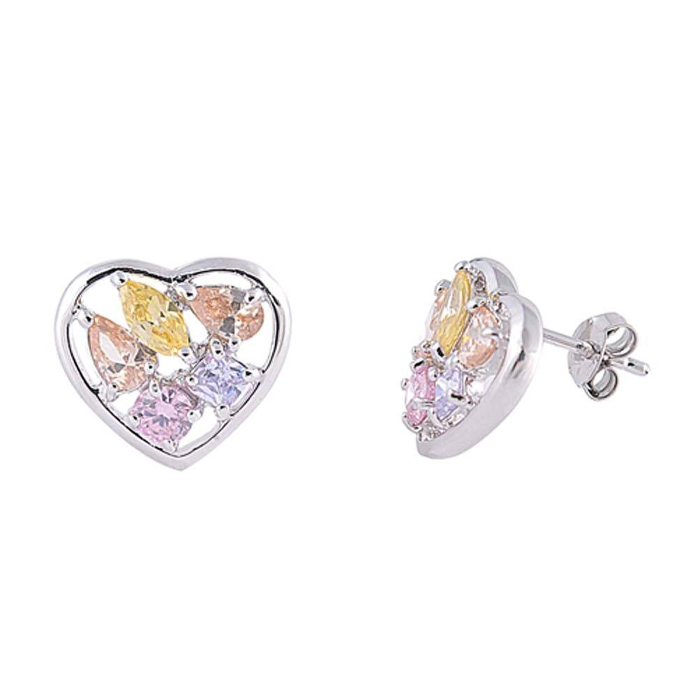 Sterling Silver Multicolor Heart Shaped CZ EarringsAnd Face Height 12 mm