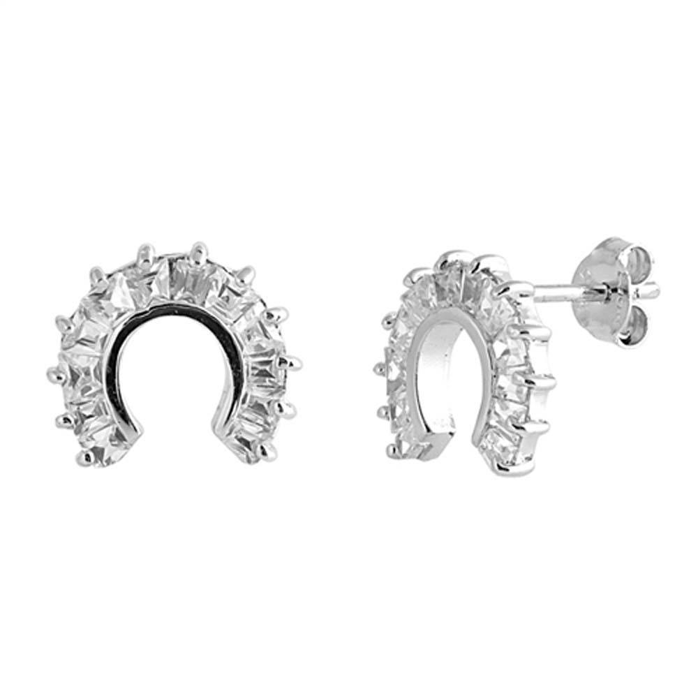 Sterling Silver Horseshoe Shaped CZ EarringsAnd Face Height 10 mm