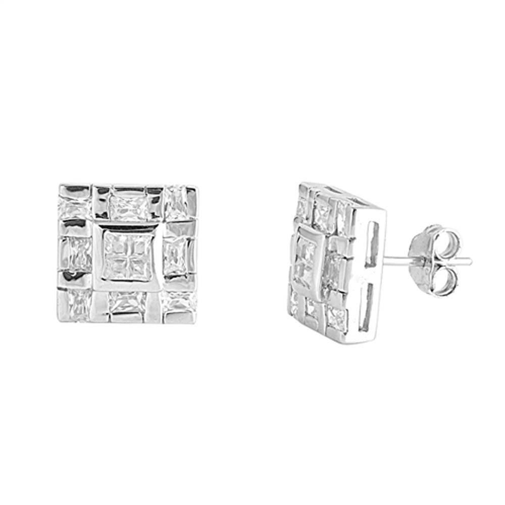Sterling Silver Square Shaped CZ EarringsAnd Face Height 11 mm