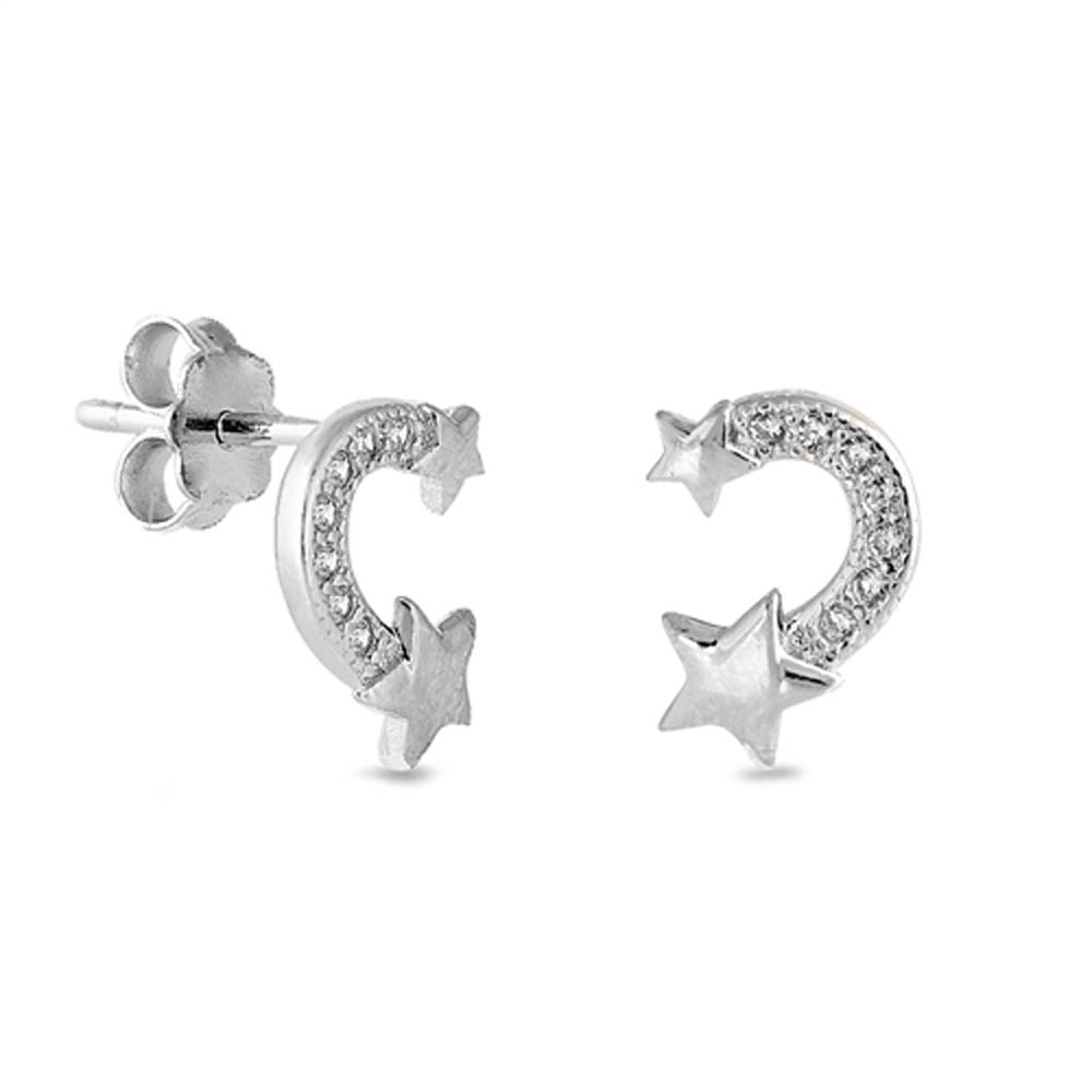 Sterling Silver Shooting Star Earring With CZ Stones