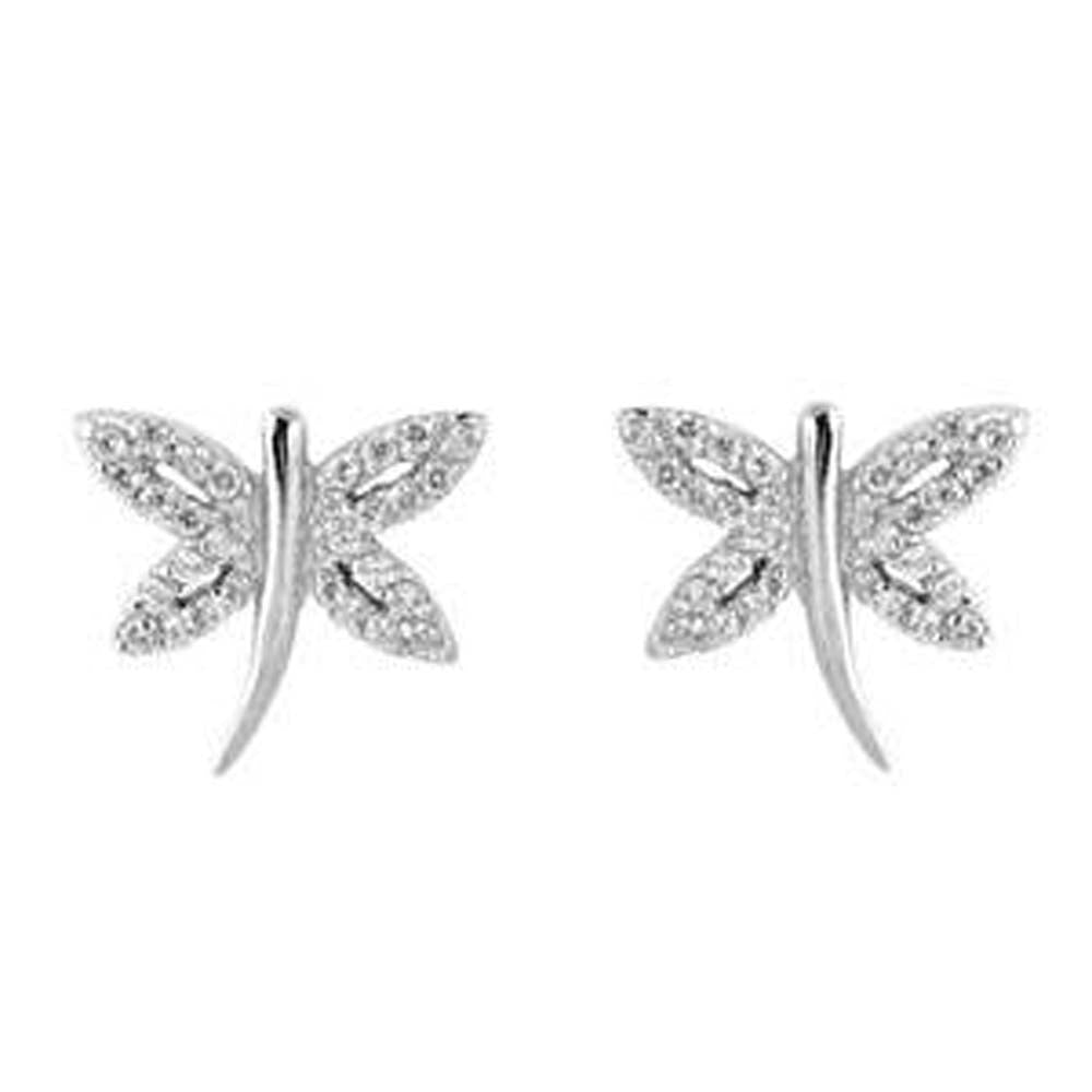Sterling Silver Dragonfly Shaped CZ EarringsAnd Face Height 11 mm