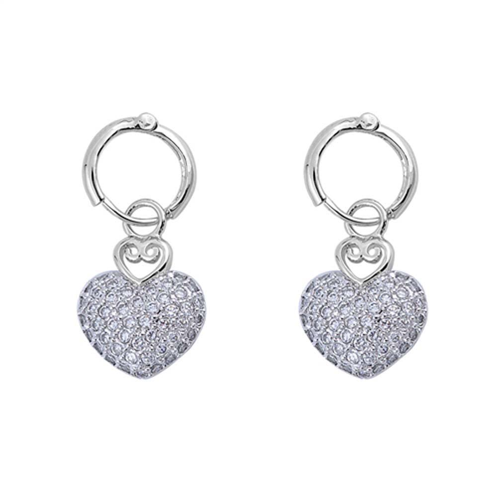 Sterling Silver Heart Shaped CZ EarringsAnd Face Height 13 mm