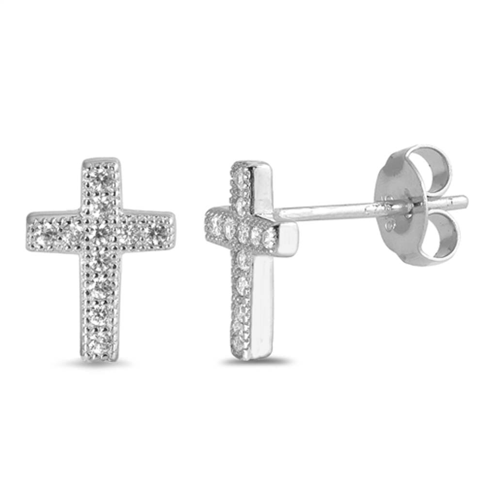 Sterling Silver Round Stone Cross Shaped CZ EarringsAnd Face Height 10 mm