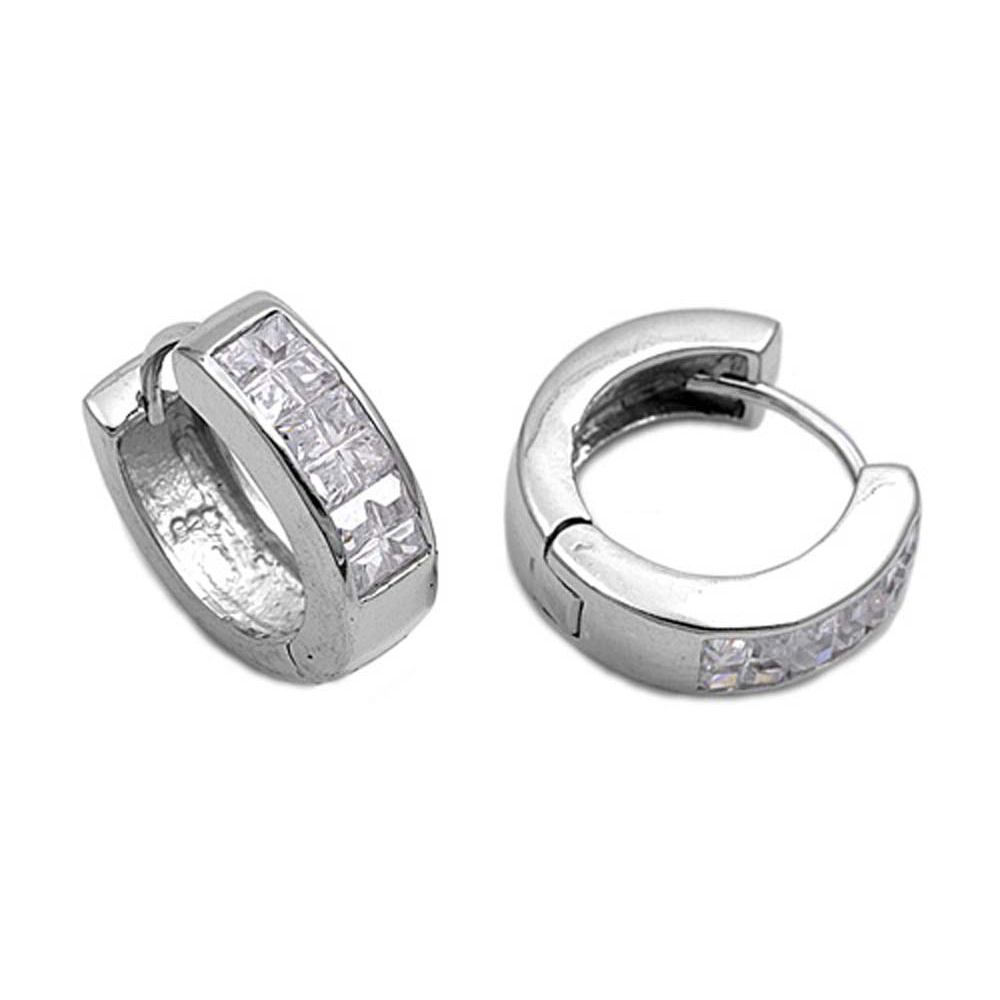 Sterling Silver Round Shaped With Cubic Zirconia Huggie Hoop EarringsAnd Earring Height 18mmAnd Thickness 5mm