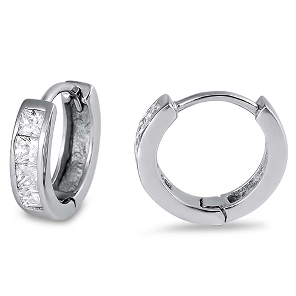 Sterling Silver Round Shaped Inline Square Cubic Zirconia Huggie Hoop EarringsAnd Dimensions 11 x 10mm