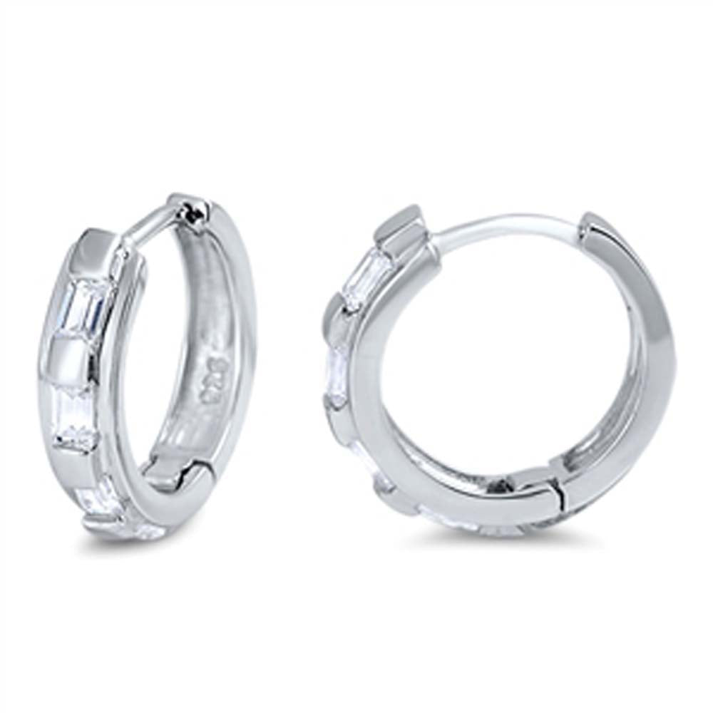 Sterling Silver Thin Round Shaped With Cubic Zirconia Huggie Hoop EarringsAnd Dimensions 12 x 12mm