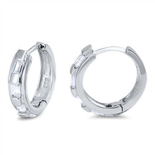 Load image into Gallery viewer, Sterling Silver Thin Round Shaped With Cubic Zirconia Huggie Hoop EarringsAnd Dimensions 12 x 12mm