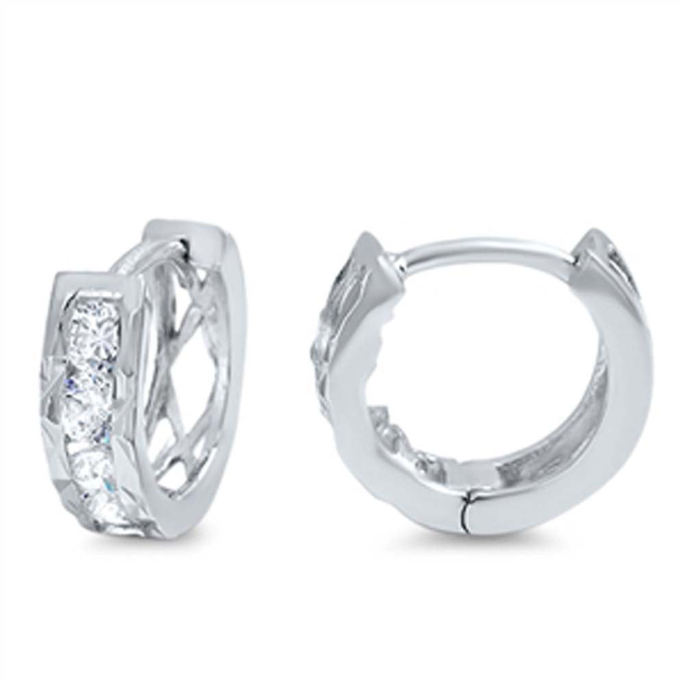 Sterling Silver Thick Round Shaped With Cubic Zirconia Huggie Hoop EarringsAnd Dimensions 12 x 13mm