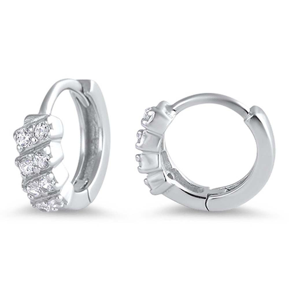 Sterling Silver Cubic Zirconia Round Shaped Huggie Hoop EarringsAnd Dimensions 11 x 11mm