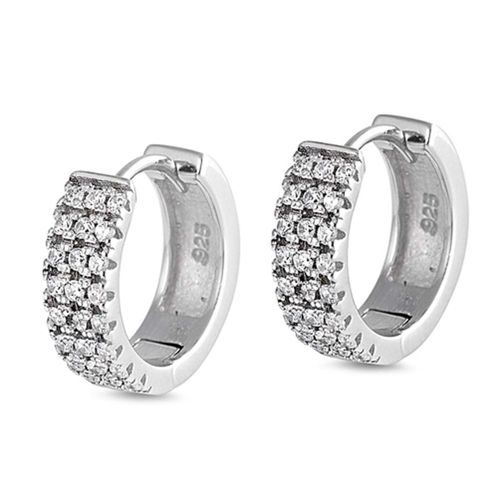 Sterling Silver Thick Round Shaped With Cubic Zirconia Huggie Hoop EarringsAnd Dimensions 14 x 14mm