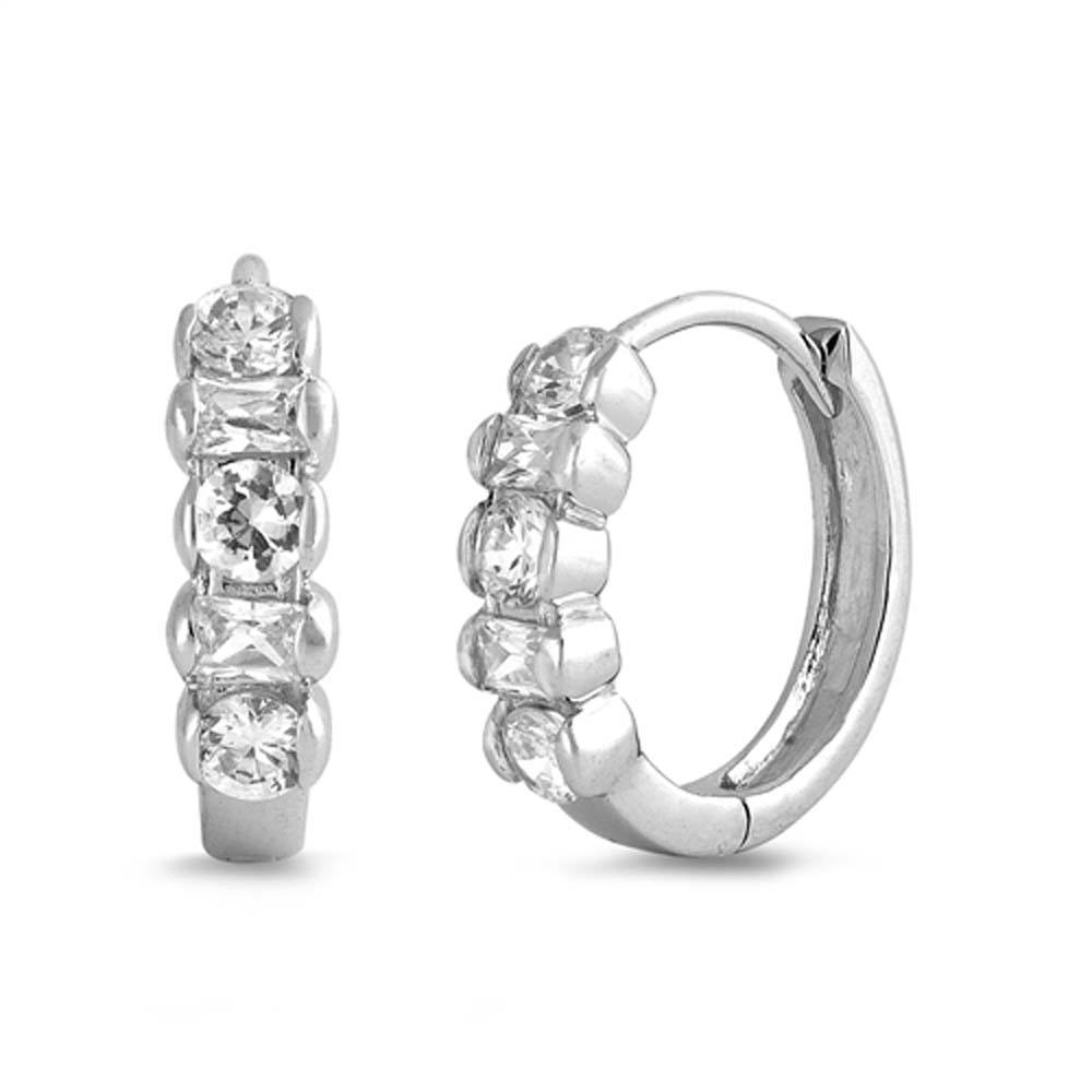 Sterling Silver Huggie Hoop Earrings With CZ Stones