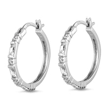 Load image into Gallery viewer, Sterling Silver Huggie Hoop Earrings With CZ Stones