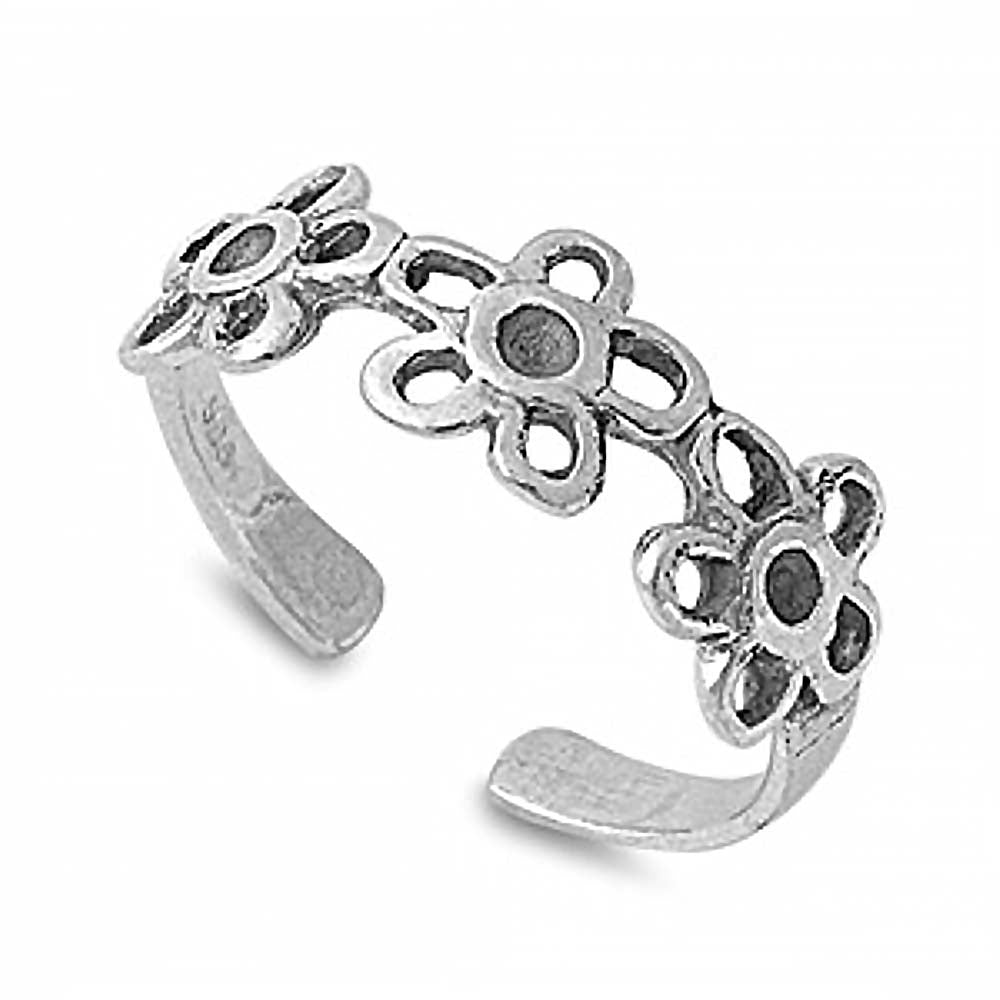 Sterling Silver Flower Toe Ring