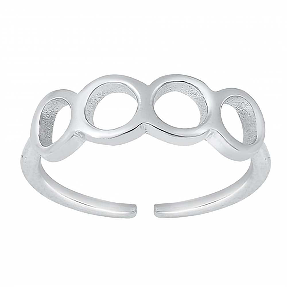 Sterling Silver Rhodium Plated Circles Toe Ring