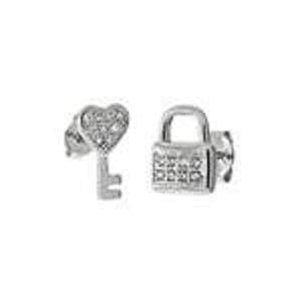 Sterling Silver Heart Key And Lock Shaped Stud Earrings With CZ StonesAnd Length 7/16 inchAnd Width 6.8 mm