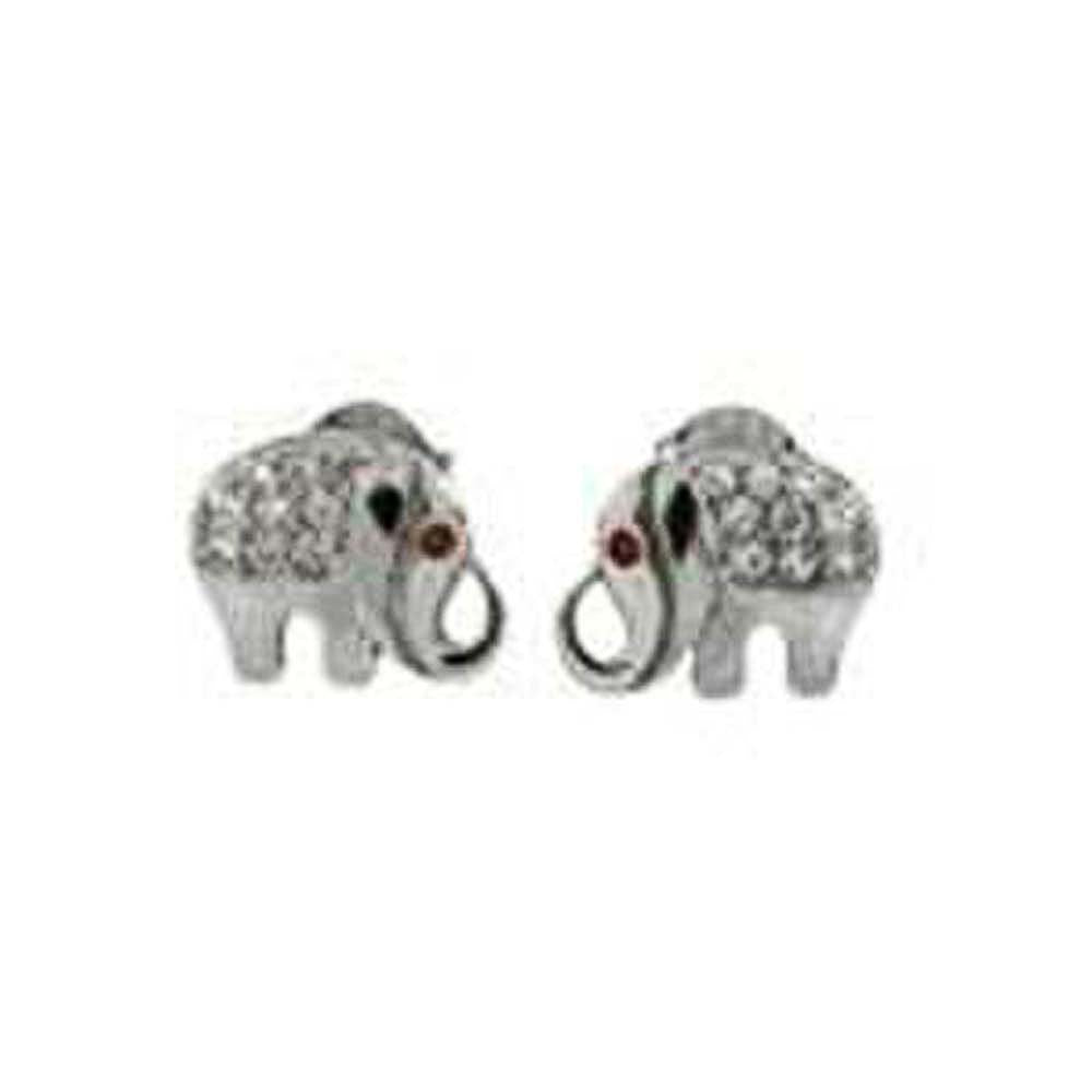 Sterling Silver Pave CZ Elephant Rhodium Stud Earrings