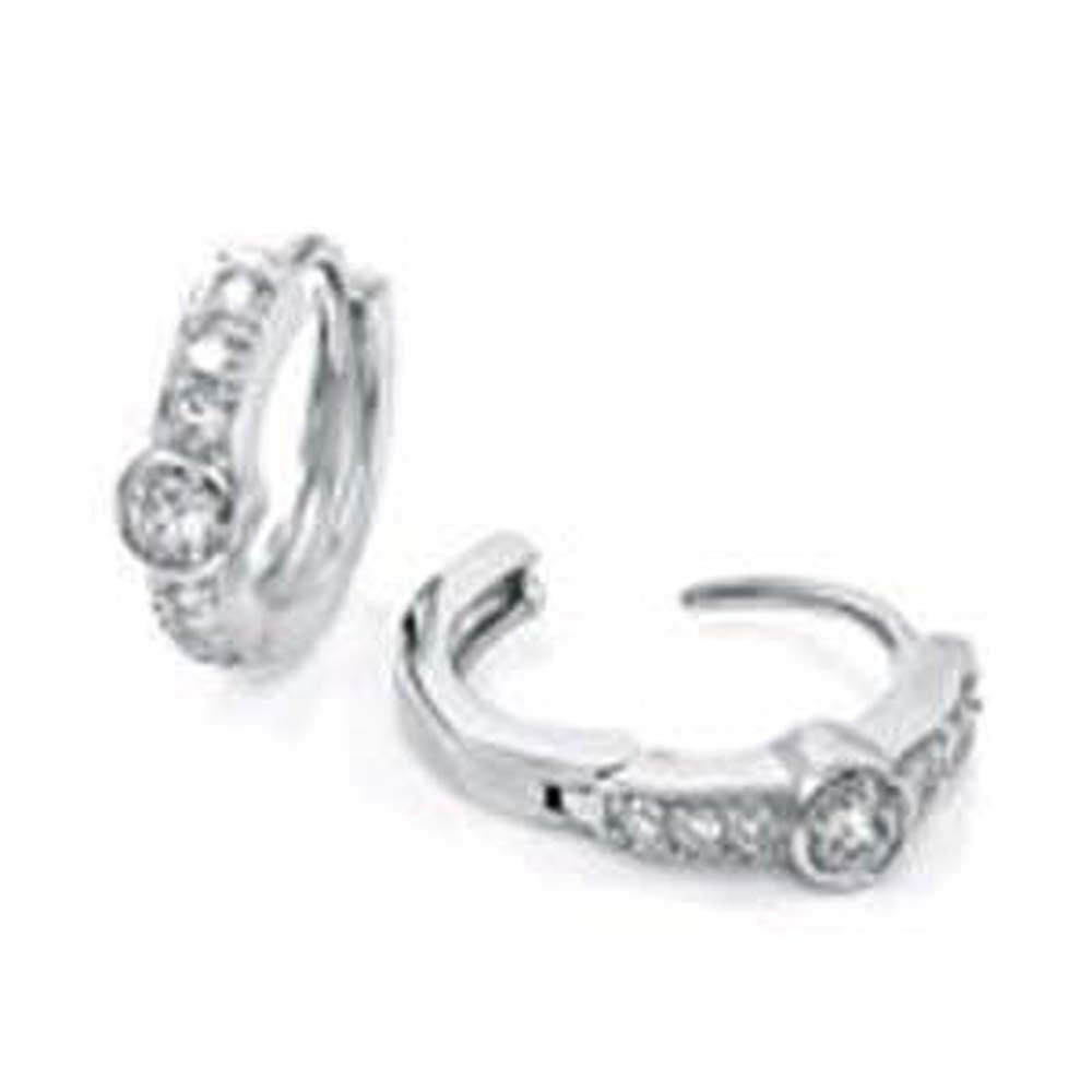Sterling Silver Pave Set Cz Huggie Earrings with Earring Diameter of 14.29MM and Earring Width of 3MM