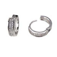 Load image into Gallery viewer, Sterling Silver 2 Line Micro Pave Clear CZ Fancy Huggie Earrings with Earring Diameter of 16MM and Earring Width of 4.2MM
