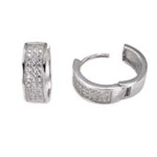 Load image into Gallery viewer, Sterling Silver 3 Line Micro Pave Clear CZ Fancy Huggie Earrings with Earring Diameter of 15.5MM and Earring Width of 5.5MM